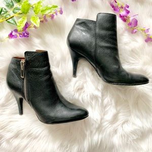 Calvin Klein Leather Almond Toe Ankle Boot Black